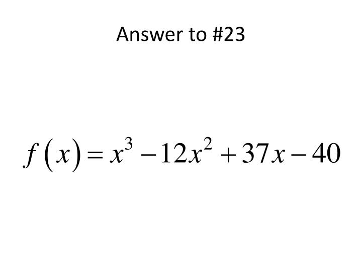 Answer to #23