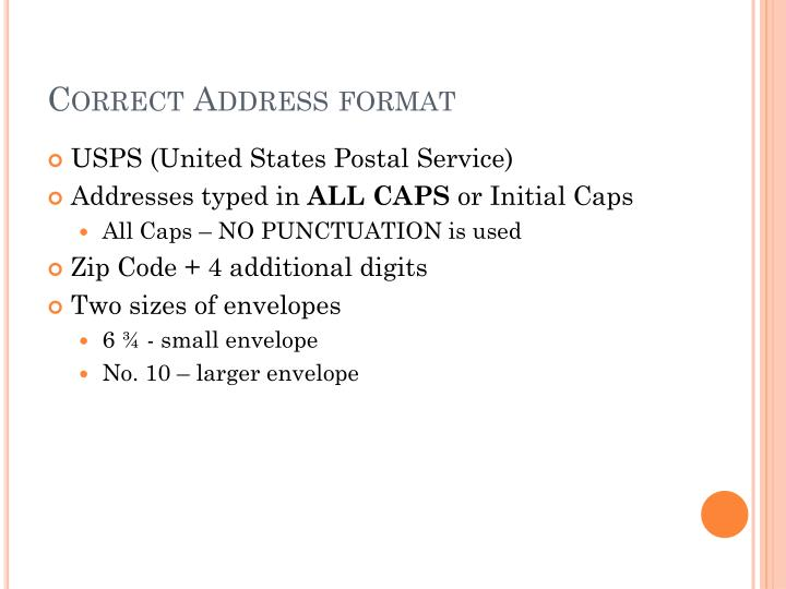 Correct address format