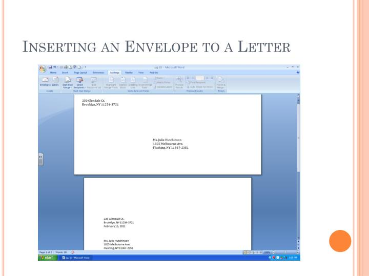 Inserting an envelope to a letter