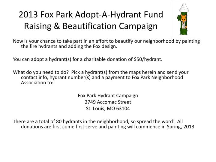 2013 fox park adopt a hydrant fund raising beautification campaign