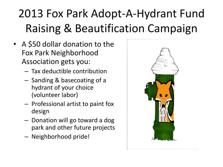 2013 fox park adopt a hydrant fund raising beautification campaign1