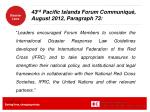 43 rd pacific islands forum communiqu august 2012 paragraph 73