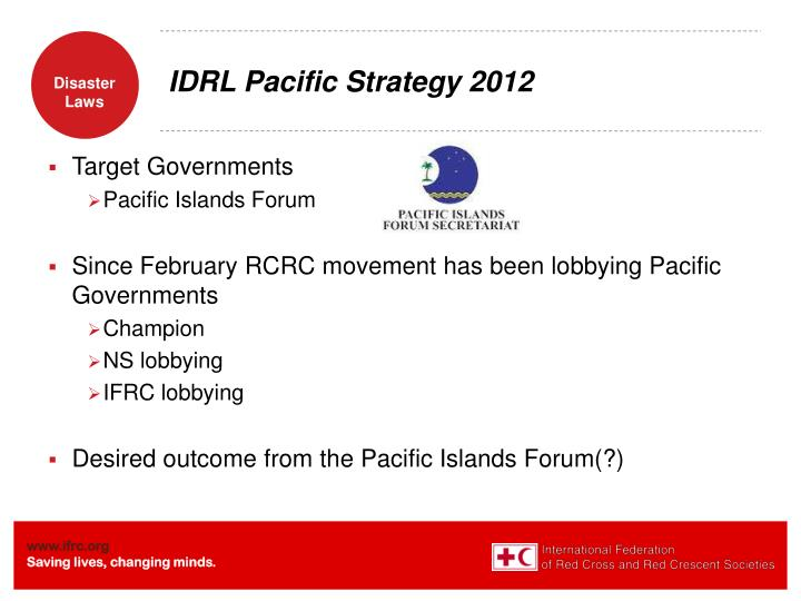 IDRL Pacific Strategy 2012