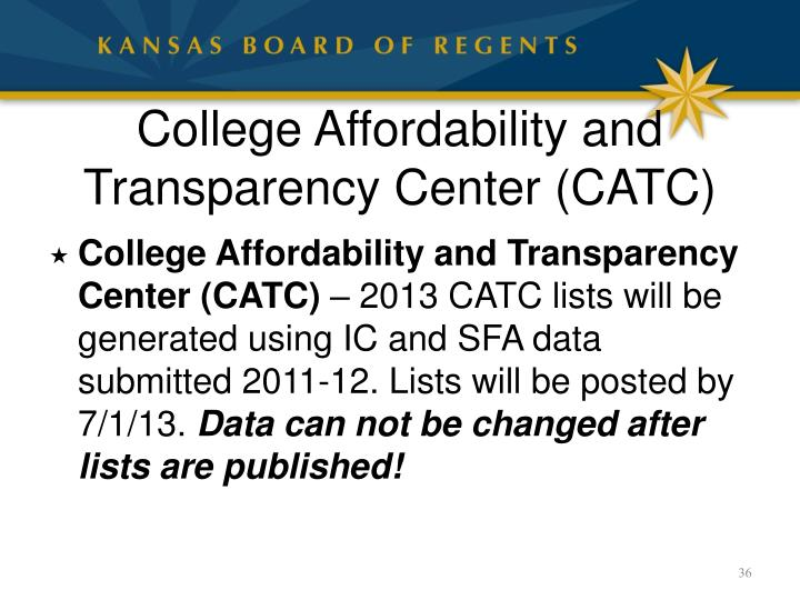 College Affordability and Transparency Center (CATC)