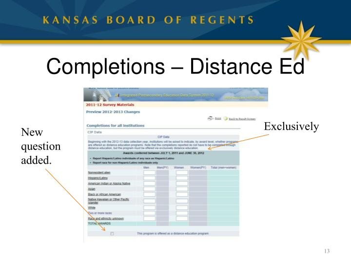 Completions – Distance Ed