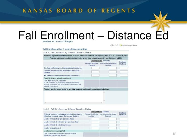 Fall Enrollment – Distance Ed