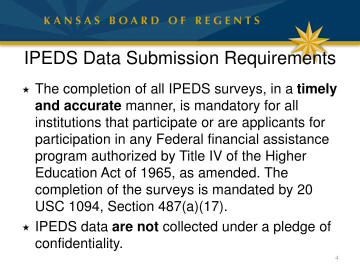 IPEDS Data Submission Requirements