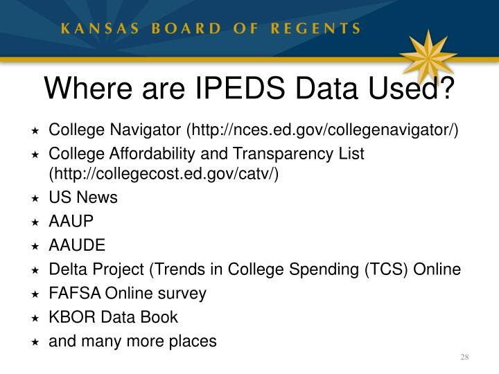 Where are IPEDS Data Used?