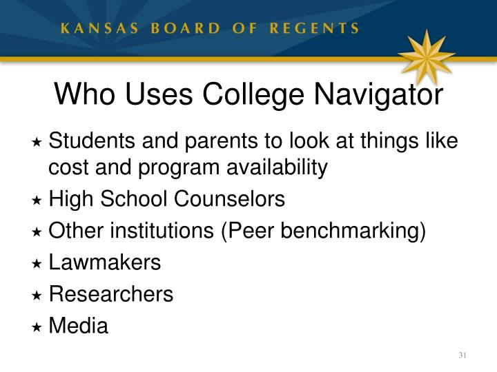 Who Uses College Navigator