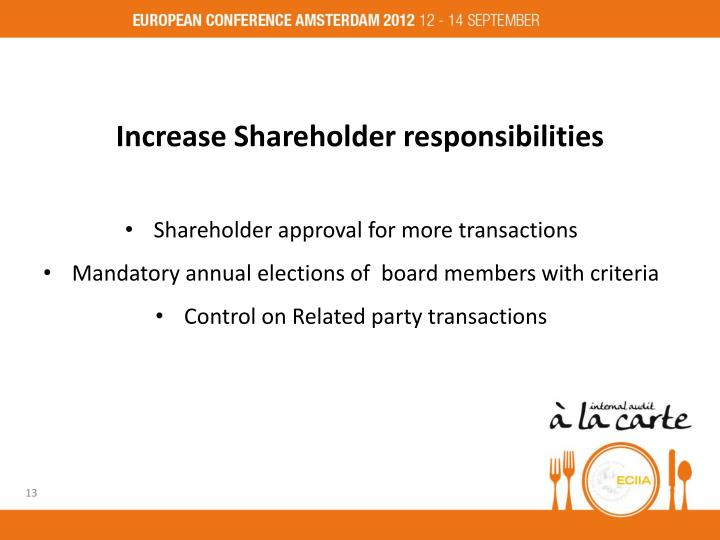 Increase Shareholder responsibilities