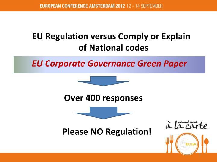 EU Regulation versus Comply or Explain