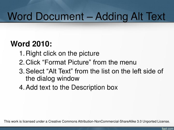 Word Document – Adding Alt Text
