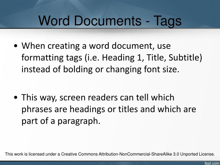 Word Documents - Tags