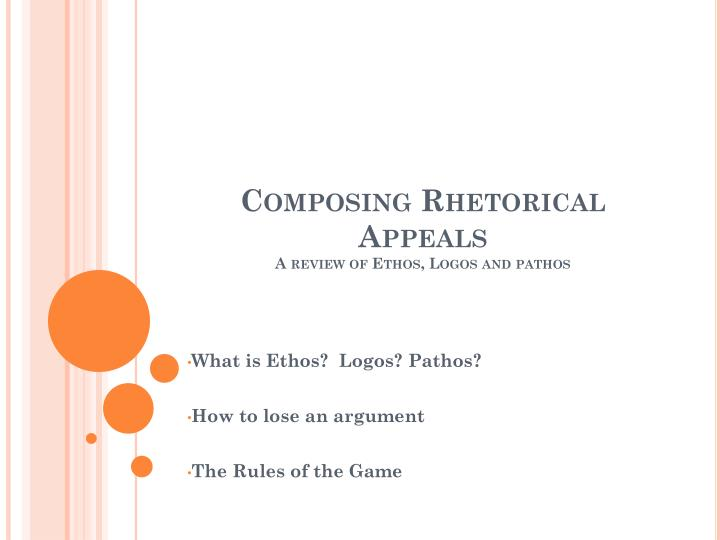 Composing rhetorical appeals a review of ethos logos and pathos