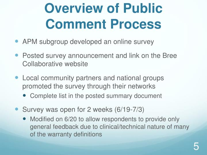 Overview of Public Comment Process