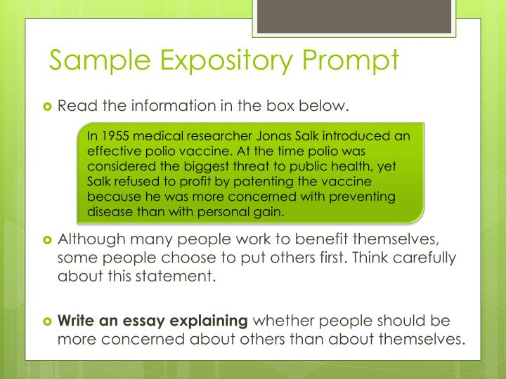Sample Expository Prompt