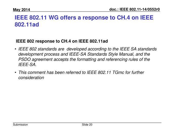 IEEE 802.11 WG offers a response to