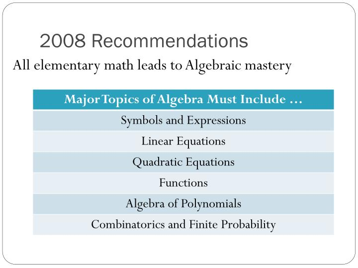 2008 Recommendations