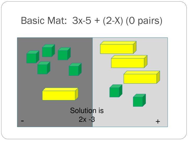 Basic Mat:  3x-5 + (2-X) (0 pairs)