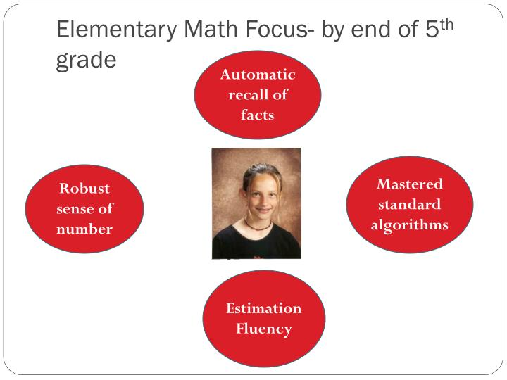 Elementary Math Focus- by end of 5