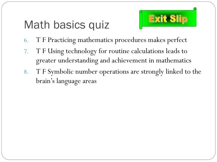 Math basics quiz