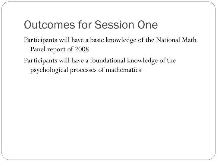 Outcomes for Session One
