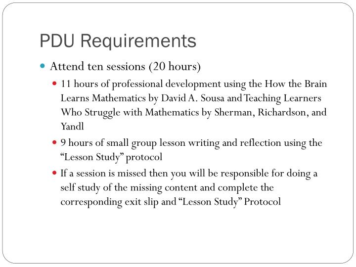 Pdu requirements