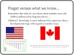 piaget verses what we know