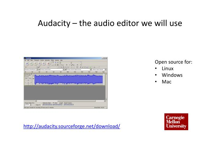 Audacity – the audio editor we will use