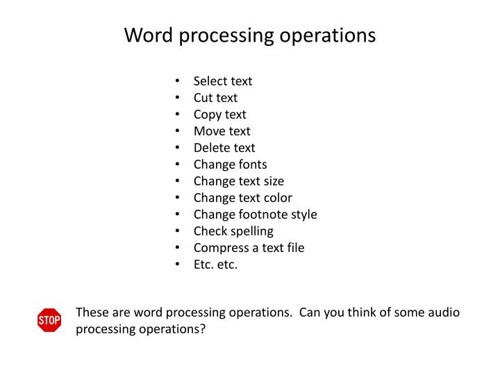 Word processing operations