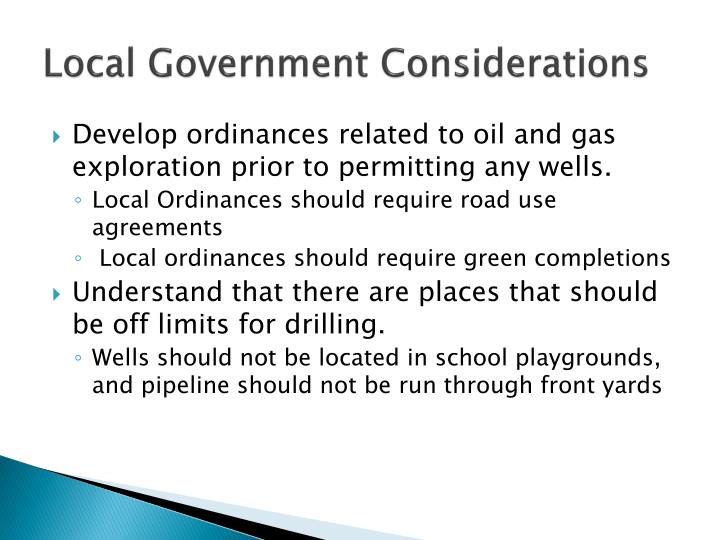 Local Government Considerations