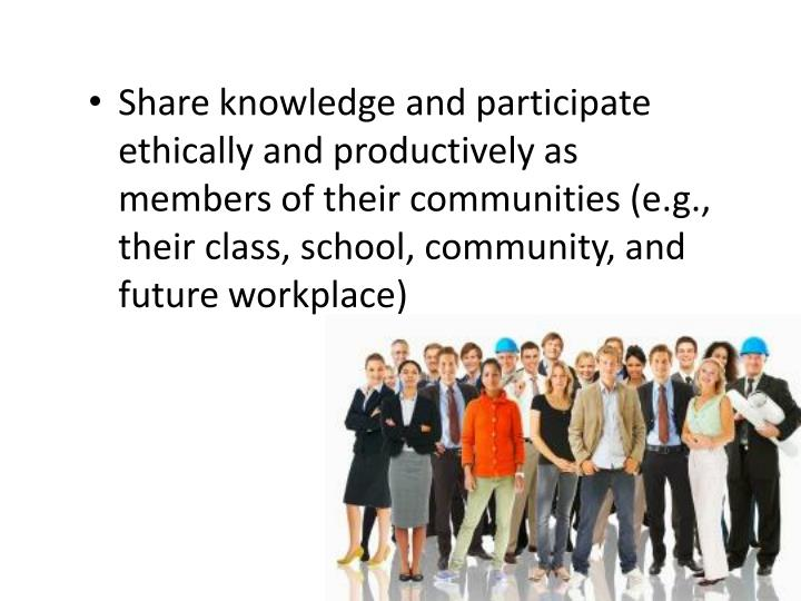 Share knowledge and participate ethically and productively as members of their communities (e.g., their class, school, community, and future workplace)