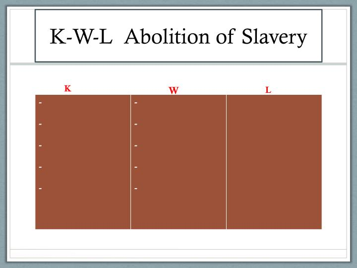 K-W-L  Abolition of Slavery