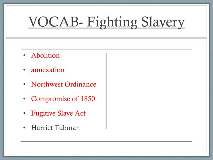 VOCAB- Fighting Slavery