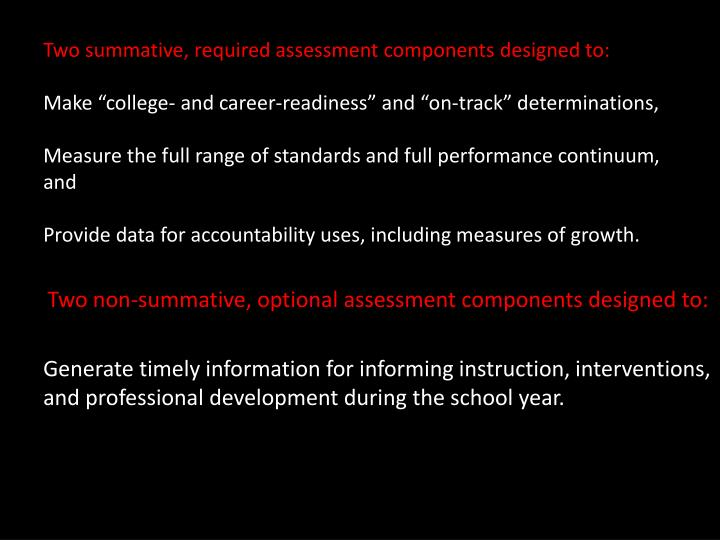Two summative, required assessment components designed to: