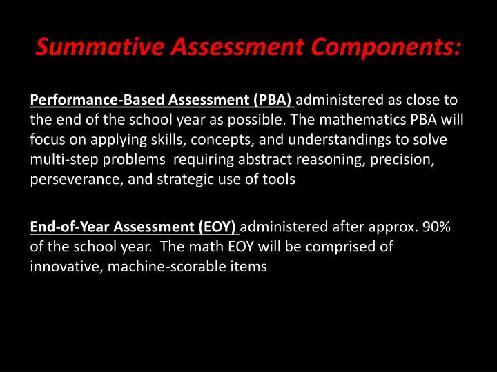 Summative Assessment Components: