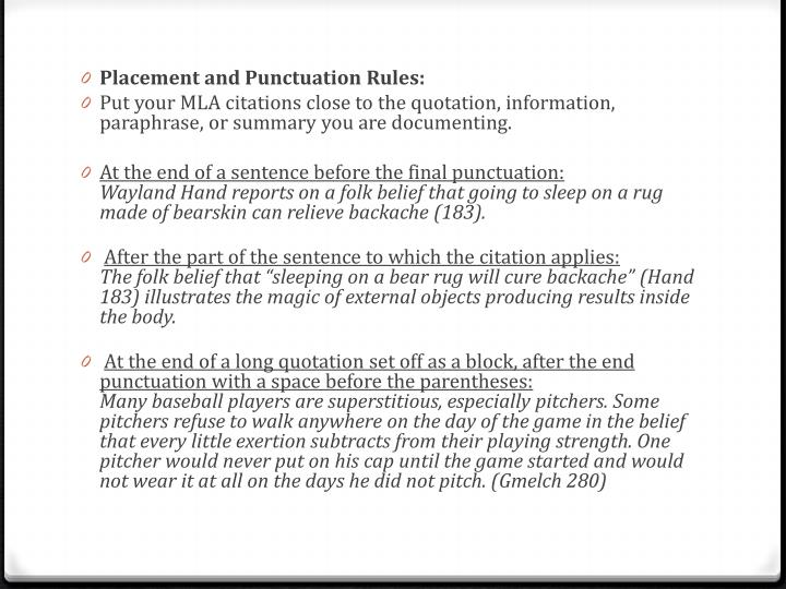 Placement and Punctuation Rules: