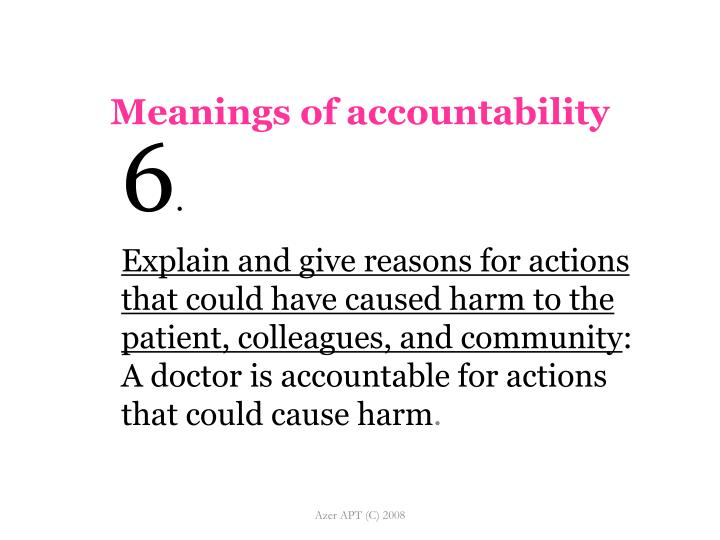 Meanings of accountability