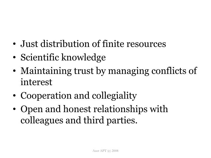 Just distribution of finite resources