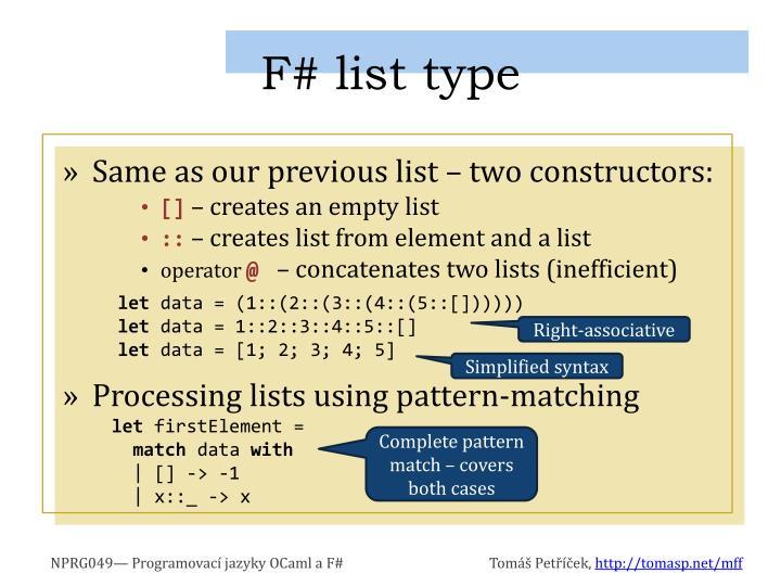F# list type