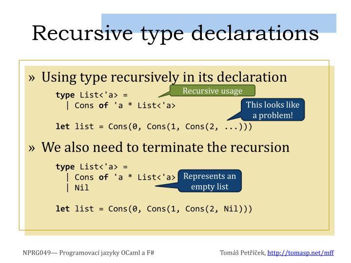 Recursive type declarations