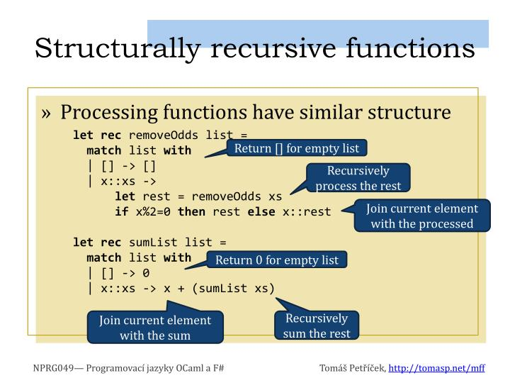 Structurally recursive functions