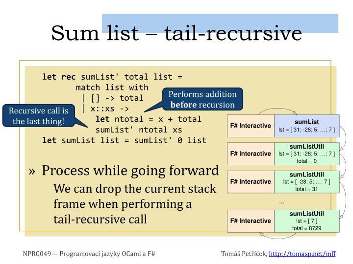 Sum list – tail-recursive
