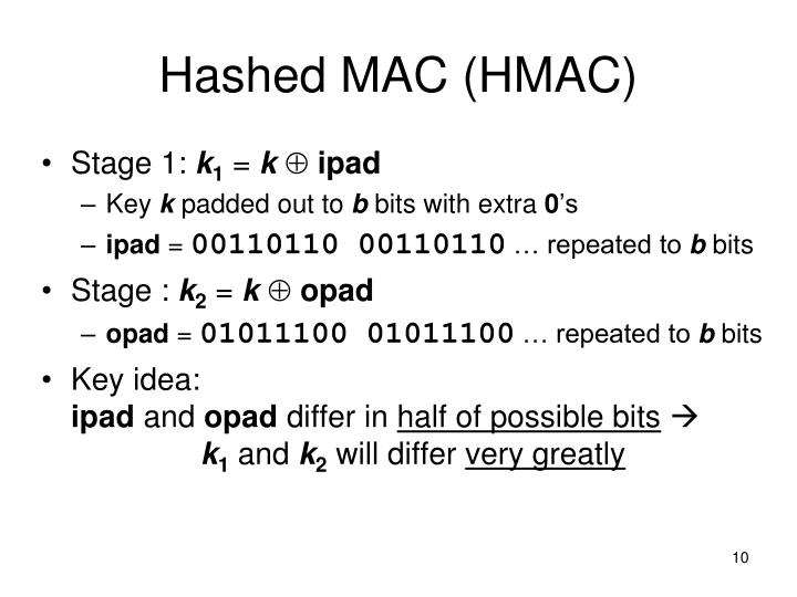 Hashed MAC (HMAC)