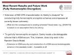most recent results and future work fully homomorphic encryption