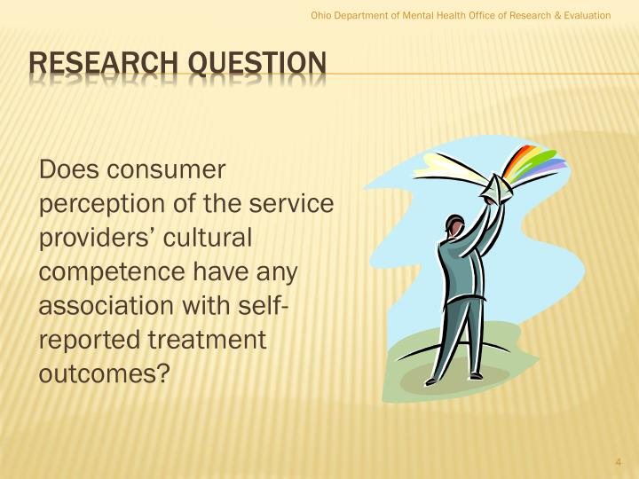 Does consumer perception of the service providers' cultural competence have any association with self-reported treatment outcomes?