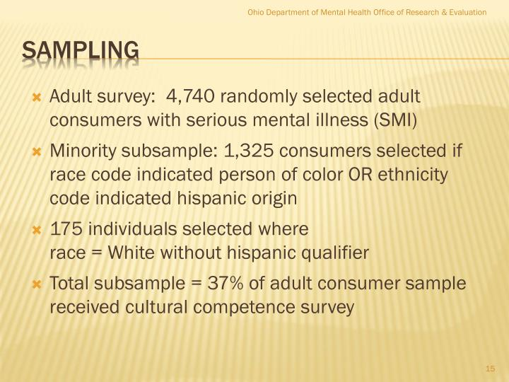 Adult survey:  4,740 randomly selected adult consumers with serious mental illness (SMI)