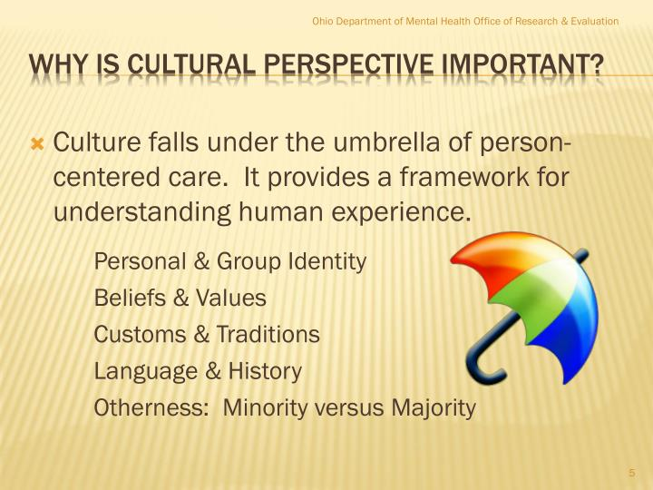 Culture falls under the umbrella of person-centered care.  It provides a framework for understanding human experience.