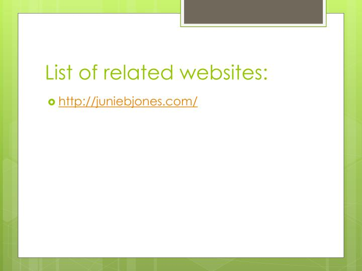 List of related websites: