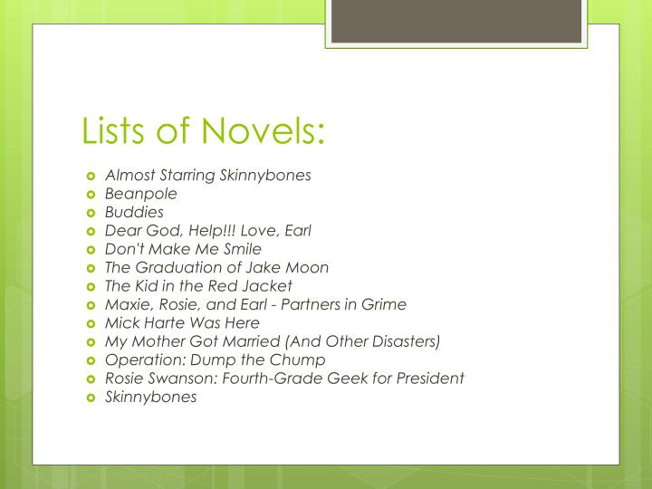 Lists of Novels: